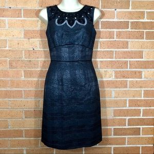 Antonio Melani size 0 Dress Black Beaded Sheath